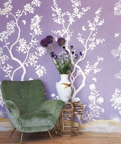 section of wallpaper for living room? Funky Wallpaper, Purple Wallpaper, Wall Wallpaper, Hanging Wallpaper, Closet Wallpaper, Feature Wallpaper, Chinoiserie Wallpaper, City Wallpaper, Bedroom Wallpaper