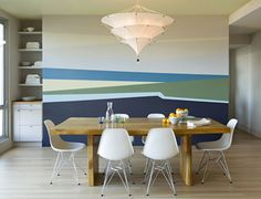 Modern Dining Room design by Portland Interior Designer Jessica Helgerson Interior Design I cannot get this wall out of my head! Dining Room Walls, Living Room Paint, Dining Room Design, Striped Walls, Interior Paint Colors, Design Interior, Interior Painting, Room Colors, Wall Colors