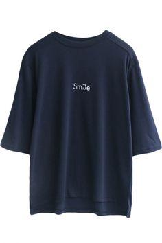 Dark Blue 1/2 Sleeve Smile Print Loose T-Shirt