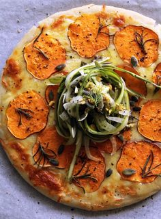 Sweet Potato and Rosemary Pizza with Shaved Asparagus and Fennel Salad
