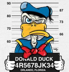 "Disney's Fall from Grace: ""Donald Duck"" as ""Bad Guys"" mug shots series by graphic illustrator Jose Duran (via DesignFaves 2014-11 ) • official site: www.mebzart.com"