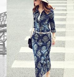 QZ1416 New Fashion Ladies' vintage totem print long denim Dress turn down collar half sleeve slim evening party brand design $759,60