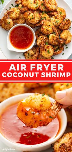 Coated in sweet coconut flakes and Panko breadcrumbs, these Air Fryer Coconut Shrimp come out crispy and so delicious. Served with a sweet chili sauce, it's a crazy easy restaurant quality seafood appetizer recipe made at home! Even better, this version is healthier than the traditional fried version, so you can have more of them without the guilt. Healthy Coconut Shrimp, Coconut Shrimp Recipes, Shrimp Recipes Easy, Seafood Recipes, Appetizer Recipes, Healthy Food, Yummy Food, Air Fryer Recipes Vegetables, Air Fryer Oven Recipes