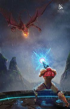 Samus vs Ridley by BlueAlacrity on DeviantArt Metroid Samus, Metroid Prime, Samus Aran, Ocarina Of Times, Zero Suit Samus, Super Metroid, Gaming Wall Art, Classic Video Games, Pokemon Fusion