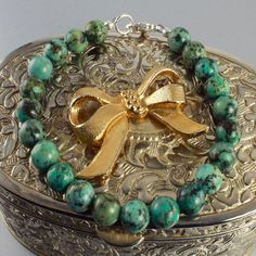 African turquoise bracelet. BUY NOW http://jewelrybytali.com/products/african-turquoise-bracelet
