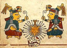"""Ometeotl In Nahuatl, the language spoken by Aztecs in Mexico, """"Ome"""" means """"two,"""" and """"teotl"""" means """"cosmic energy."""" Ometeotl was therefore considered the """"Lord of Duality,"""" being simultaneously male. Aztec Religion, Aztec Society, Feathered Serpent, Aztec Culture, Les Religions, Anthropologie, Mesoamerican, Ancient Symbols, Folklore"""