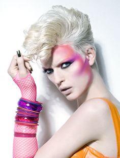 80's hair and makeup | 1980's Pink and Orange Makeup » Eyeshadow Lipstick 80s Makeup Trends, 1980s Makeup, Makeup Ideas, Make Up Looks, Makeup Fx, Hair Makeup, Rock Makeup, Makeup Eyeshadow, Glam Makeup