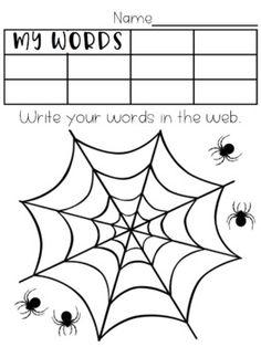 Word Activity Pages Spelling Menu, Spelling Word Activities, Spelling Word Practice, Word Study Activities, Spelling Words, Phonics Activities, Saxon Phonics, Word Web, Halloween Words
