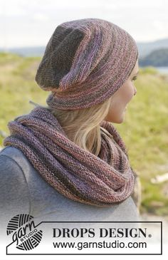 """Set consists of: Knitted DROPS hat and neck warmer in garter st in """"Fabel"""". ~ DROPS Design"""
