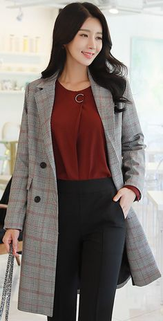 StyleOnme_Check Print Double-Breasted Long Jacket