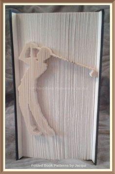 Golfer. Book Folding PATTERN by JHBookFoldPatterns on Etsy