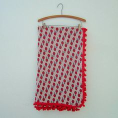 1970's Handmade Tablecloth with Red Pom Pom Fringe. Willow Moon Vintage on Etsy.