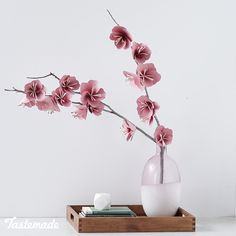 Hands Only Design Paper Cherry Blossom Branch Spring's favorite floral gets a DIY twist. The post Hands Only Design Paper Cherry Blossom Branch appeared first on Basteln ideen. Paper Flowers Craft, Paper Roses, Flower Crafts, Diy Flowers, Flower Diy, Handmade Paper Flowers, Hanging Paper Flowers, Paper Flower Garlands, How To Make Paper Flowers