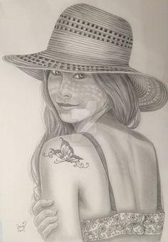 Summer Magic by DaisyPearl7 #portrait #summer #girl #hat #butterfly #lady #pencil #drawing #realist #hiperrealistic #grafite #carvão #desenho #lapis #rapariga #verão #borboleta #tatuagem #tatoo #chapeu #menina #portrair #retrato