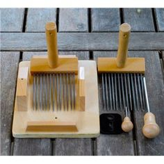 Traditional style wool combs, made in house at Wentworth. Spinning Yarn, Triangle, Fiber, Felt, Woodworking, Base, Vintage Hats, Wool, Mini