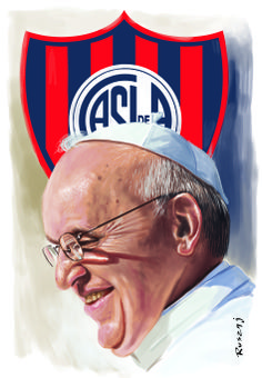 Pope Francisco Bergoglio and San Lorenzo de Almagro shield soccer team.