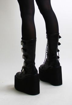 Details about Sexy Goth Punk Studded Strap Mid Calf Extreme ...