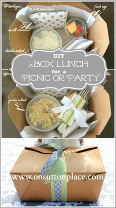 box lunch on menu - choice of sandwich, soup or pasta, a pastry and fruit or a kind of puppy chow - //