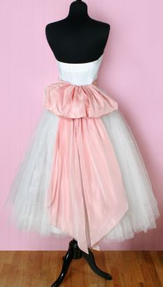 1950's pink and white prom/wedding dress
