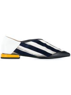 fae054672331d2 TOGA TOGA PULLA STRIPED POINTED TOE LOAFERS - 白色.  toga  shoes