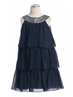 Navy Three Layer Chiffon Dress with Sequin Neckline Flower Girl Dress (size 2-16 in 8 colors)