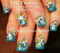 #nail #art #nailart #tutorial #design #teal #mint #blue #light #flowers #gliter #spring #trends #nails Here are my Teal Flower nails up NEW for Friday! Have fun painting! https://www.youtube.com/watch?v=9eiuTG1QZAc