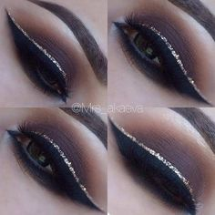make up guide Brown Smokey Eye Gold Glitter Eyeliner make up glitter;make up brushes guide;make up samples; Dramatic Eye Makeup, Dramatic Eyes, Eye Makeup Tips, Makeup Inspo, Makeup Eyeshadow, Makeup Ideas, Makeup Tutorials, Makeup Products, Pink Eyeshadow