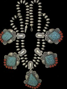 Spiderweb turquoise and coral necklace from Sunwest Silver, by Master Silversmith, Kirk Smith #sunwestsilver #kirksmith #handmadejewelry #turquoisetreasure