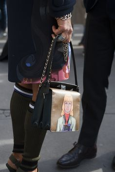This Prada bag is totally making faces at us - Paris Fashion Week #StreetStyle Accessories Fall 2014