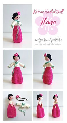 The Korean Hanbok Doll: Hana is a member of Sweet Softies' Darling Dolls International Series. This pattern provides instructions for crocheting Hana, a sweet, young maiden wearing traditional Korean clothing. Her jacket and hairpiece are removable for fun dress-up play.