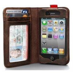 Fancy - BookBook Leather Case for iPhone 4/4S