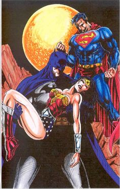 Batman, Wonder Woman & Superman, in the September 2010: Make Mine DC Comic Art Sketchbook - Hmmm...this looks about right. Superman knocks her down. Batman is always there to pick up the pieces<3