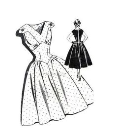 Vintage 1950s Pattern V Neck Sundress Wide Shaped Midriff Full Skirt Dress Rockabilly Patt-o-Rama 1331