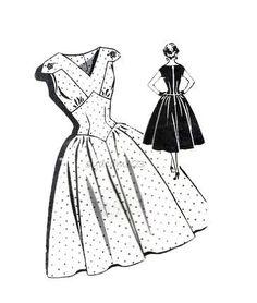 Vintage 1950s Pattern V Neck Sundress Wide Shaped Midriff Full Skirt Dress Rockabilly Patt-o-Rama 1331