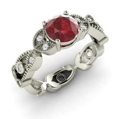 Donisha Ring with Round Ruby, SI Diamond   1.0 carat Round Ruby  Vintage Ring in 14k White Gold   Diamondere