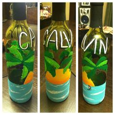 Wine bottle painted for gift