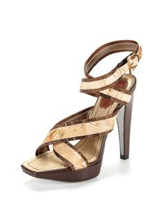 "Python Wrap Sandal by Rene Caovilla - If I had these in a 1 inch heel and 1/2"" platform I think I would wear them to work all summer long. Yes, a little flashy, but so prrreeettty."