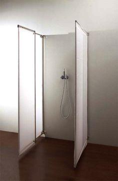 "folding shower screen | ""ima"" | from italian company raspel | design by peter buchele."