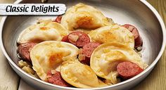 Onions, caramelized and tossed with sautéed pierogies, bring savory flavor to your plate.