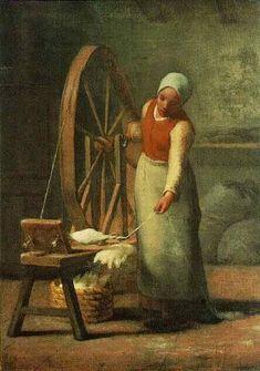 Jean-Francois Millet - Standing Spinner
