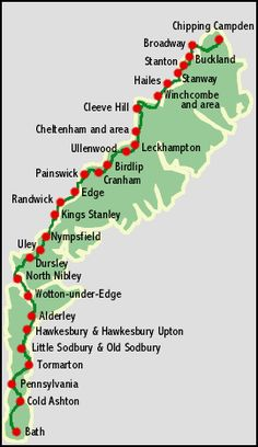 Map of the Cotswolds Way Walk National Trail. From Chipping Campden to Bath, 102…