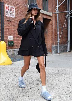 Blazer Dress, Shirt Dress, Blue Slippers, Hailey Baldwin, Celebrity Look, Mail Online, Coat, Style Icons, New York City