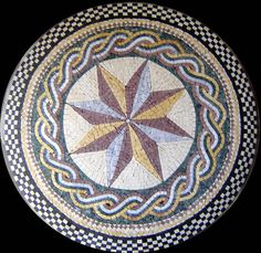 Rope and Star Compass Stone Mosaic Stone Mosaic, Mosaic Glass, Mosaic Tiles, Mosaics, Snowflake Bentley, Photo Tiles, Brick Path, Custom Pools, Compass Rose