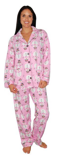 PJ Salvage Snowman Pink Pajama Set Christmas morning starts in your PJs! PJ Salvage Flannel Pajamas- in cute prints! #pjsalvage #gift