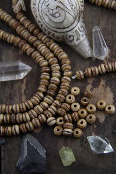 Brown Stained Inlaid Bone Beads with Brass Band, 8mm Rondelle, Nepali, Tibetan Craft, Mala Beads, Yoga Jewelry Making Supplies, 10 beads