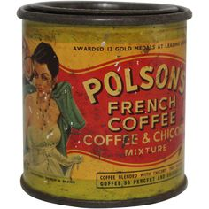 Vintage Polson's French Coffee & Chicory Tin