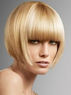 Inverted Bob Hair Style with blunt bangs