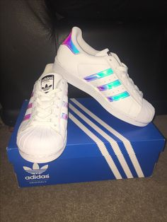 I bought them with my favorite pink Von Dutch hat in like Girls Sneakers, Adidas Sneakers, Von Dutch Hat, Holographic Adidas, Converse, Fashion Ideas, Women's Fashion, School Looks, Nike