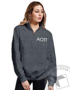 Alpha Omicron Pi - Flower Half Zip by ABD BlockBuy! Available until 10/13, $32-$38 Adam Block Design | Custom Greek Apparel & Sorority Clothes |www.adamblockdesign.com