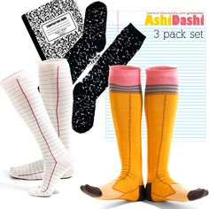 I just know I would want to write on those notepaper socks...but I would also be obsessively straightening the red line...   Way too cute set of three for those less OCD than me, though, in men's and women's!  Back to School 3-Pack Knee Highs from Ashi Dashi from Artisan Socks www.artisansocks.com